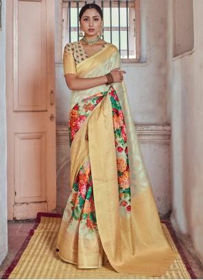 Multi Colour Print Silk Traditional Designer Saree