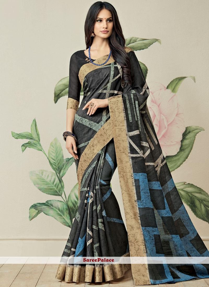 Multi Colour Print Work Fancy Fabric Printed Saree