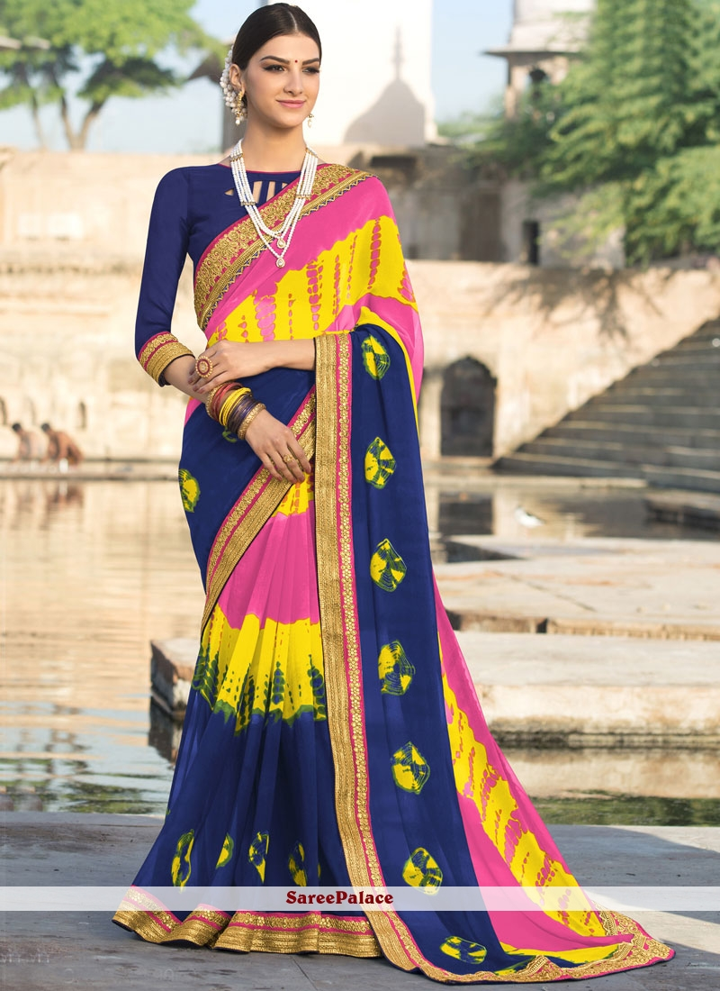 Multi Colour Print Work Faux Georgette Shaded Saree