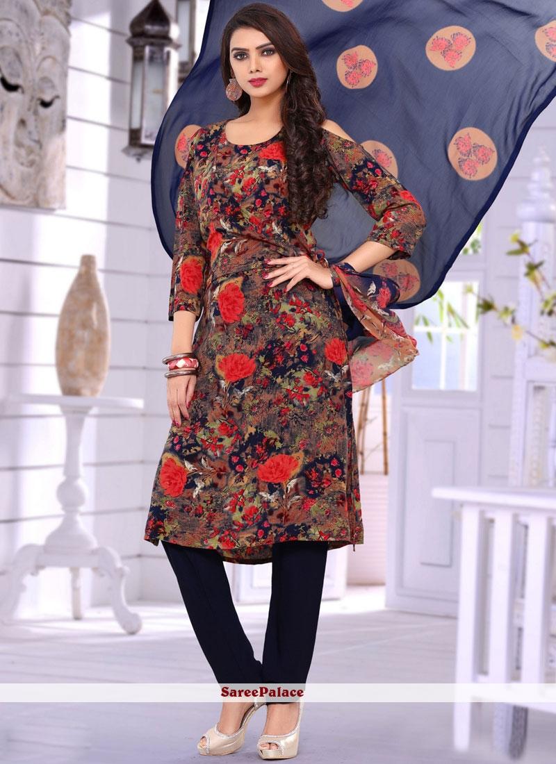 Multi Colour Print Work Salwar Suit