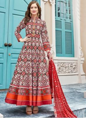 Multi Colour Printed Anarkali Suit