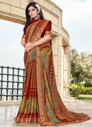 Multi Colour Printed Contemporary Saree