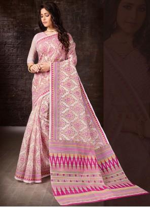 Multi Colour Printed Cotton Casual Saree