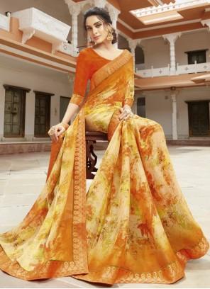 Multi Colour Printed Designer Saree