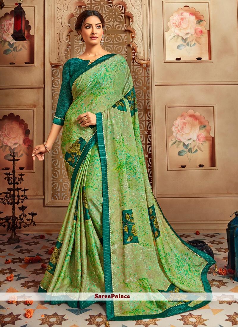 Multi Colour Printed Faux Chiffon Casual Saree