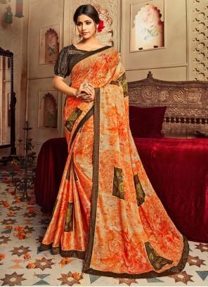 Multi Colour Printed Faux Chiffon Classic Saree