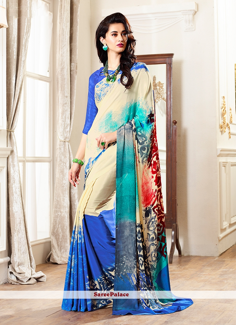 Multi Colour Printed Faux Crepe Casual Saree