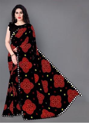 Multi Colour Printed Faux Georgette Casual Saree