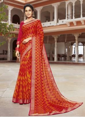 Multi Colour Printed Georgette Bollywood Saree