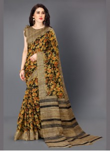 Multi Colour Printed Khadi Silk Bollywood Saree