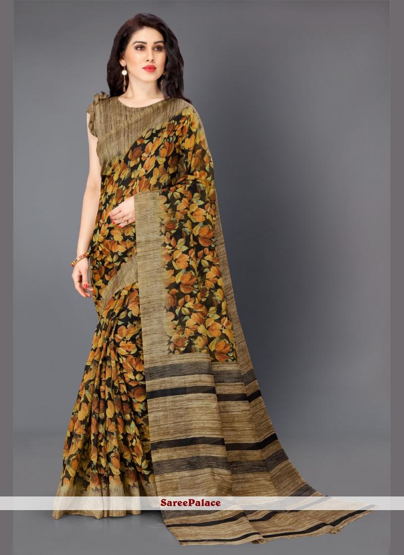 Multi Colour Printed Cotton Silk Bollywood Saree
