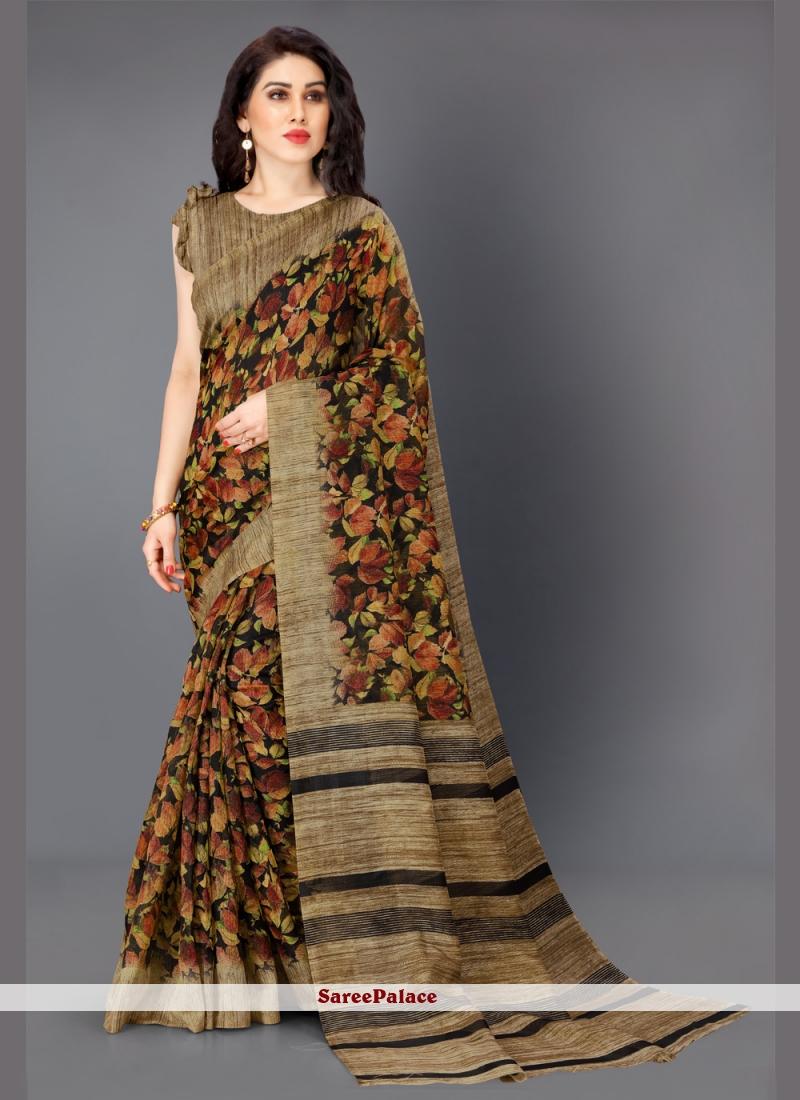 Multi Colour Printed Khadi Silk Designer Saree