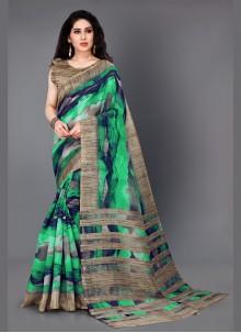 Multi Colour Printed Khadi Silk Trendy Saree