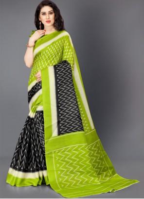 Multi Colour Printed Cotton Silk Trendy Saree