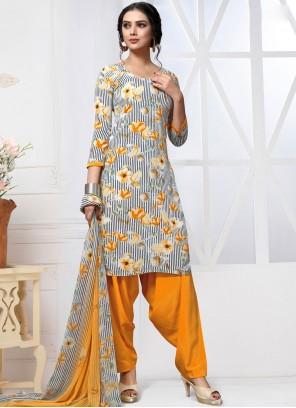 Multi Colour Printed Mehndi Patiala Salwar Kameez