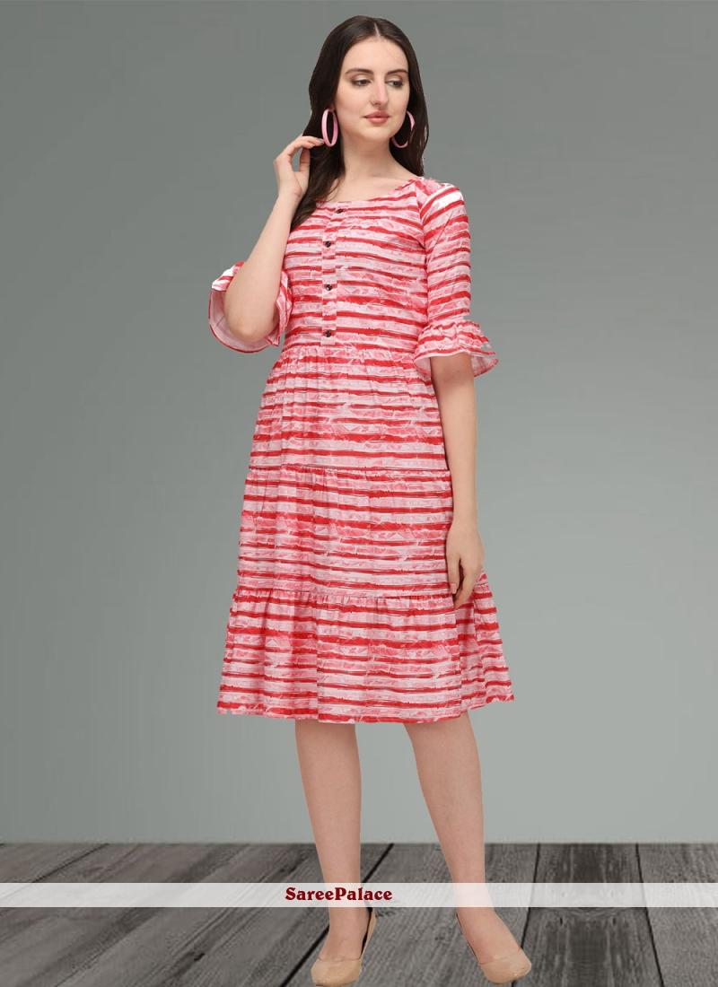 Multi Colour Printed Muslin Designer Kurti