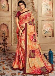 Multi Colour Printed Party Casual Saree
