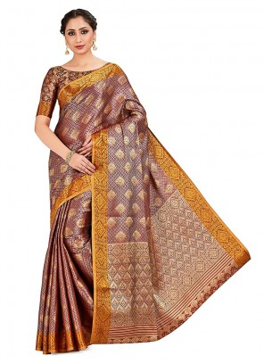 Multi Colour Printed Party Designer Traditional Saree