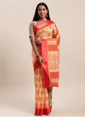 Multi Colour Printed Saree