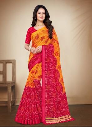 Multi Colour Cotton Silk Printed Saree