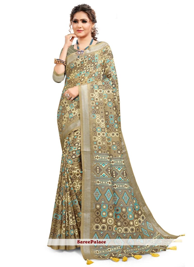 Multi Colour Cotton Linen Printed Saree