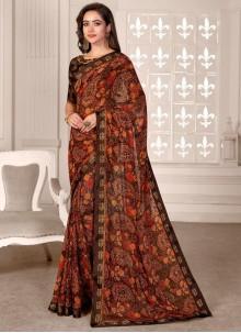 Multi Colour Printed Satin Saree