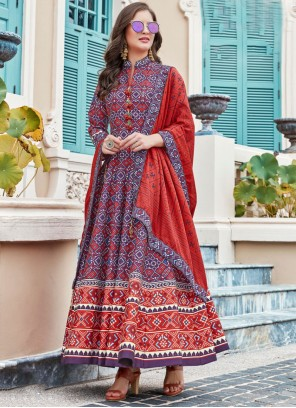 Multi Colour Printed Silk Anarkali Salwar Suit