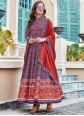 Multi Colour Printed Silk Anarkali Salwar Suit