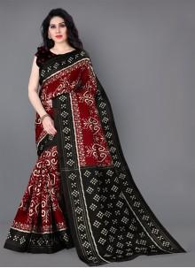 Multi Colour Printed Silk Classic Saree