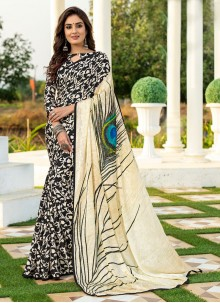Multi Colour Printed Silk Designer Saree