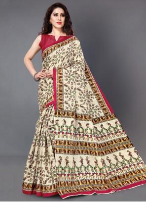 Multi Colour Printed Silk Printed Saree