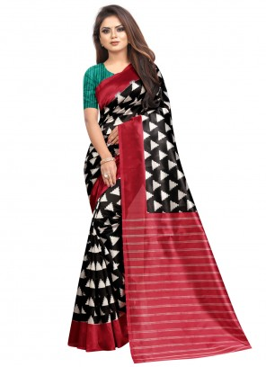 Multi Colour Raw Silk Abstract Print Saree