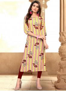 Multi Colour Rayon Print Party Wear Kurti