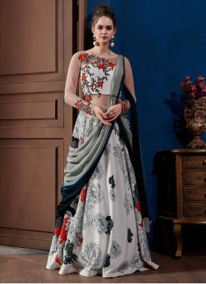 Multi Colour Reception Designer Gown