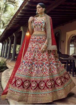 Multi Colour Resham Engagement Lehenga Choli
