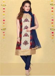 Multi Colour Silk Resham Readymade Suit