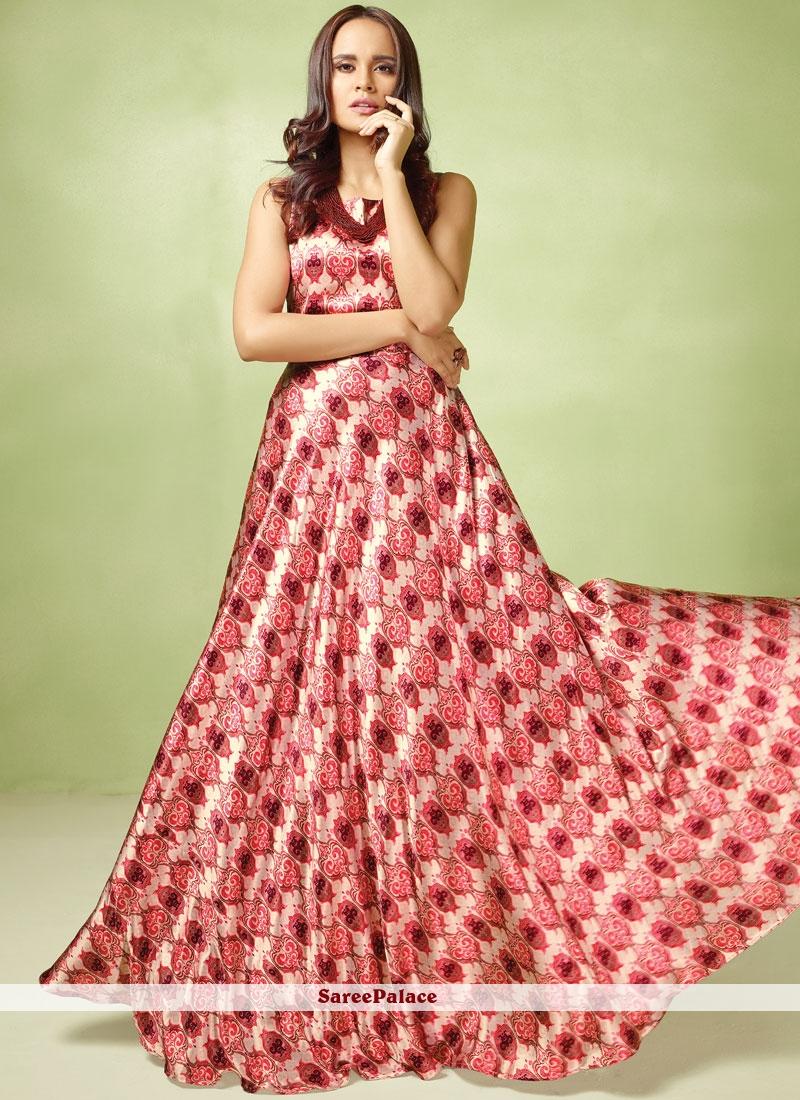Multi Colour Resham Satin Readymade Gown