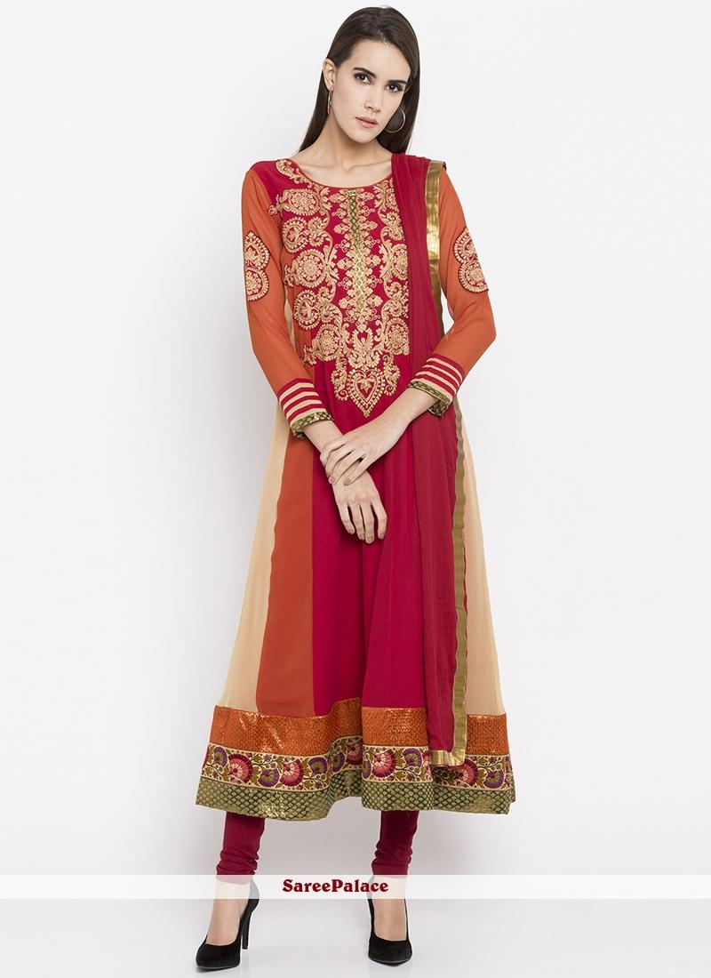 Multi Colour Resham Work Readymade Suit