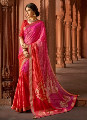 Multi Colour Sangeet Printed Saree