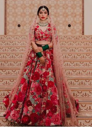 Multi Colour Sangeet Velvet Lehenga Choli