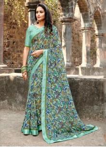 Multi Colour Satin Silk Printed Saree