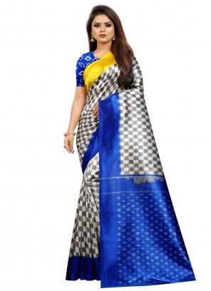 Multi Colour Silk Abstract Print Traditional Saree
