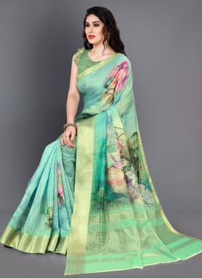 Multi Colour Silk Digital Print Designer Saree