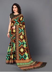 Multi Colour Silk Digital Print Trendy Saree