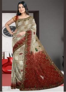 Multi Colour Silk Engagement Designer Traditional Saree