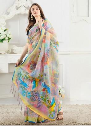 Multi Colour Silk Party Casual Saree