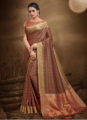 Multi Colour Silk Party Contemporary Saree