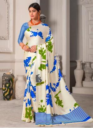 Multi Colour Silk Printed Designer Saree