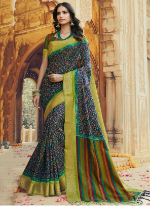 Multi Colour Silk Printed Trendy Saree