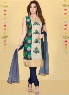 Multi Colour Silk Resham Work Readymade Suit
